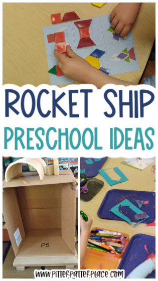 collage of preschool rocket ship activities with text: Rocket Ship Preschool Ideas