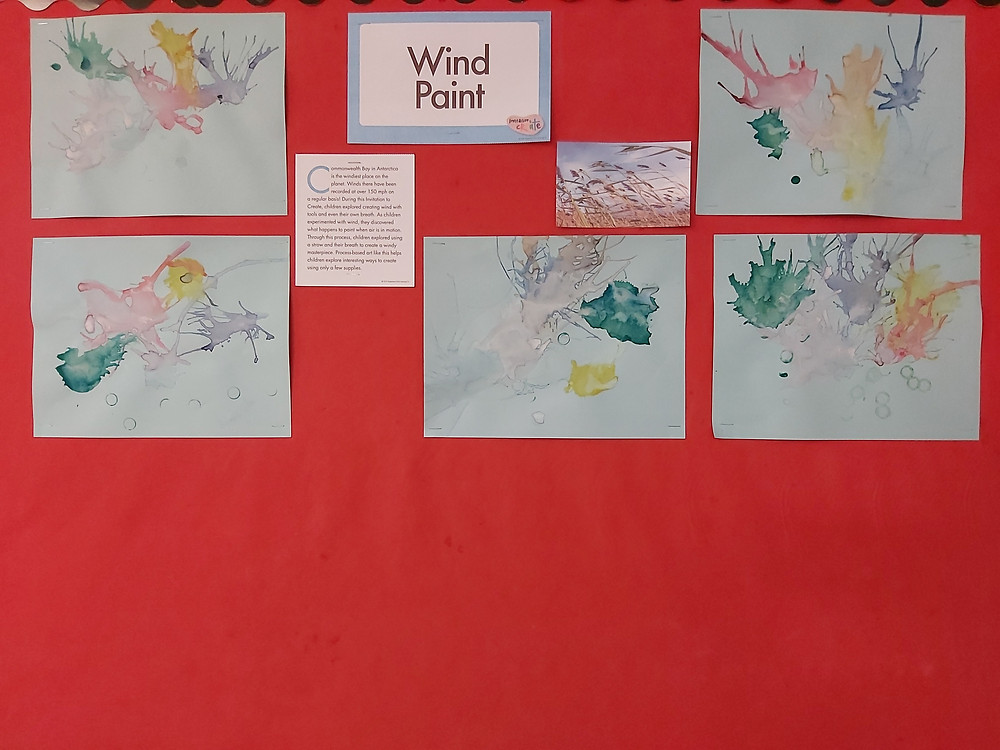 bulletin board with Wind Paint projects