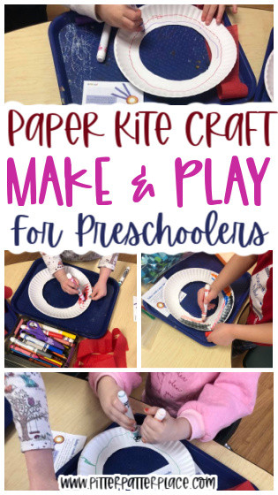 paper kite craft images with text: Paper Kite Craft Make & Play for Preschoolers