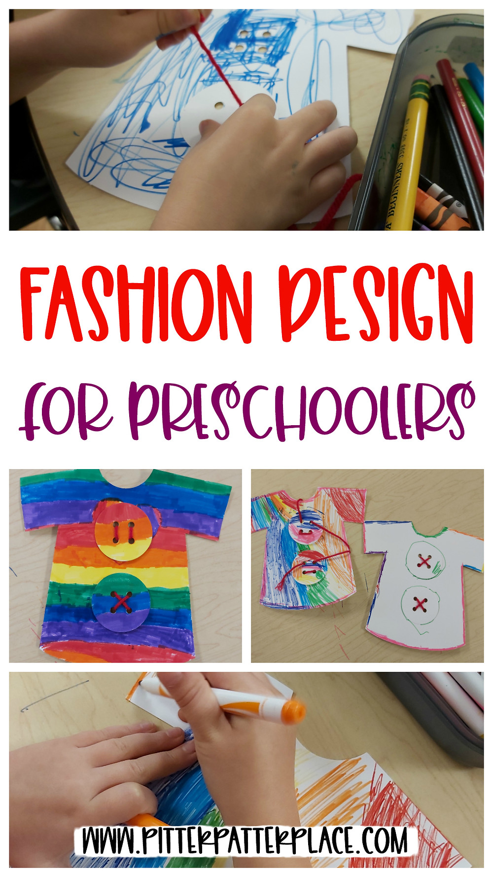 collage of t-shirt crafts with text: Fashion Design for Preschoolers