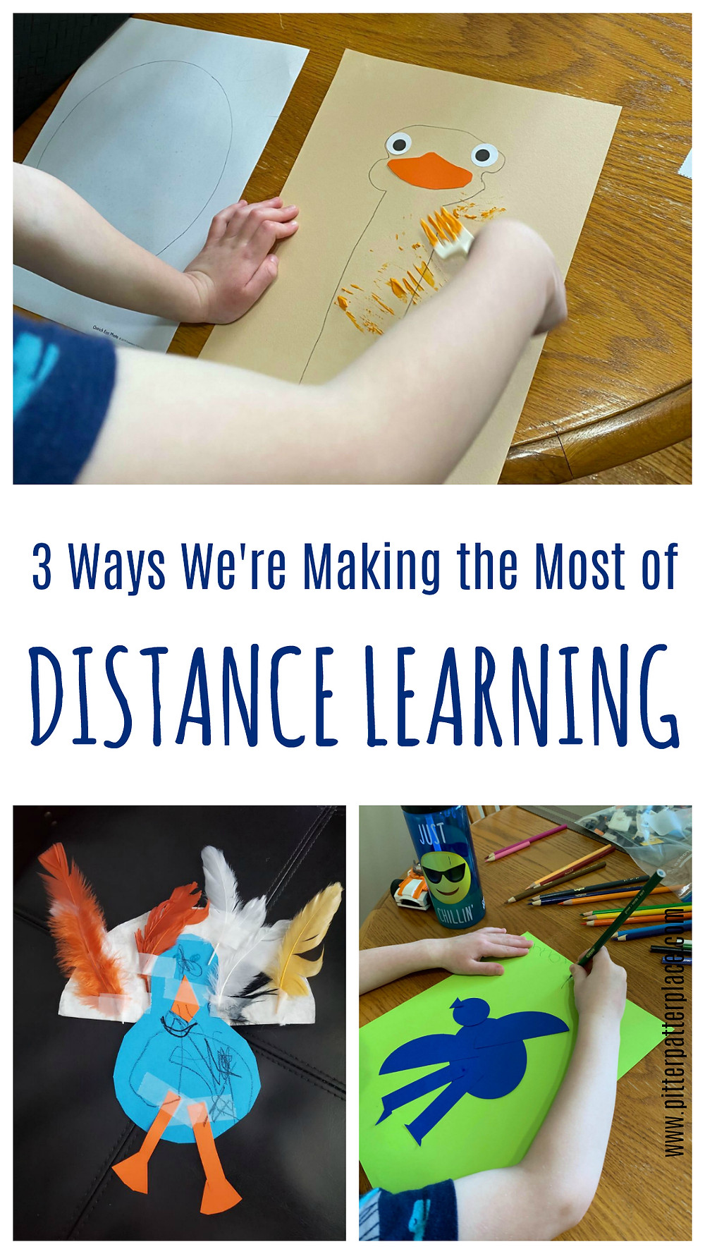 collage of children's artwork with text that reads: 3 Ways We're Making the Most of Distance Learning