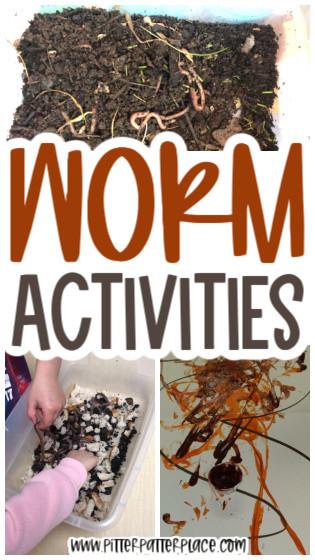 collage of preschool worm activities with text: Worm Activities