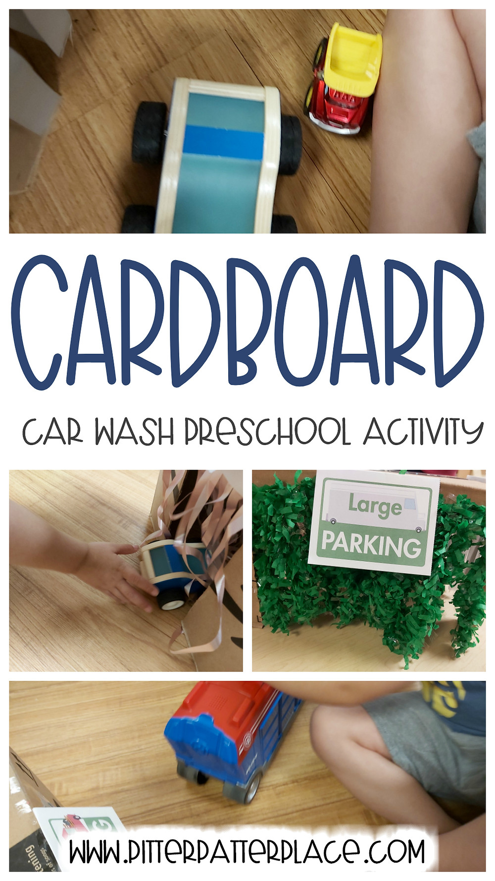 collage of cardboard carwash pictures with text: Cardboard Car Wash Preschool Activity
