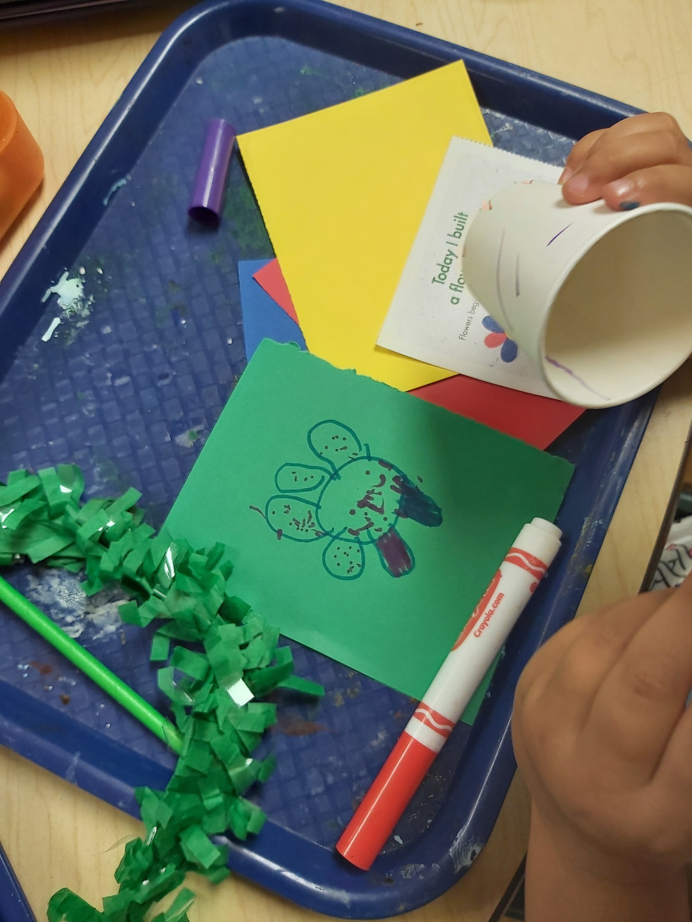 child coloring paper cup to make spring flower craft
