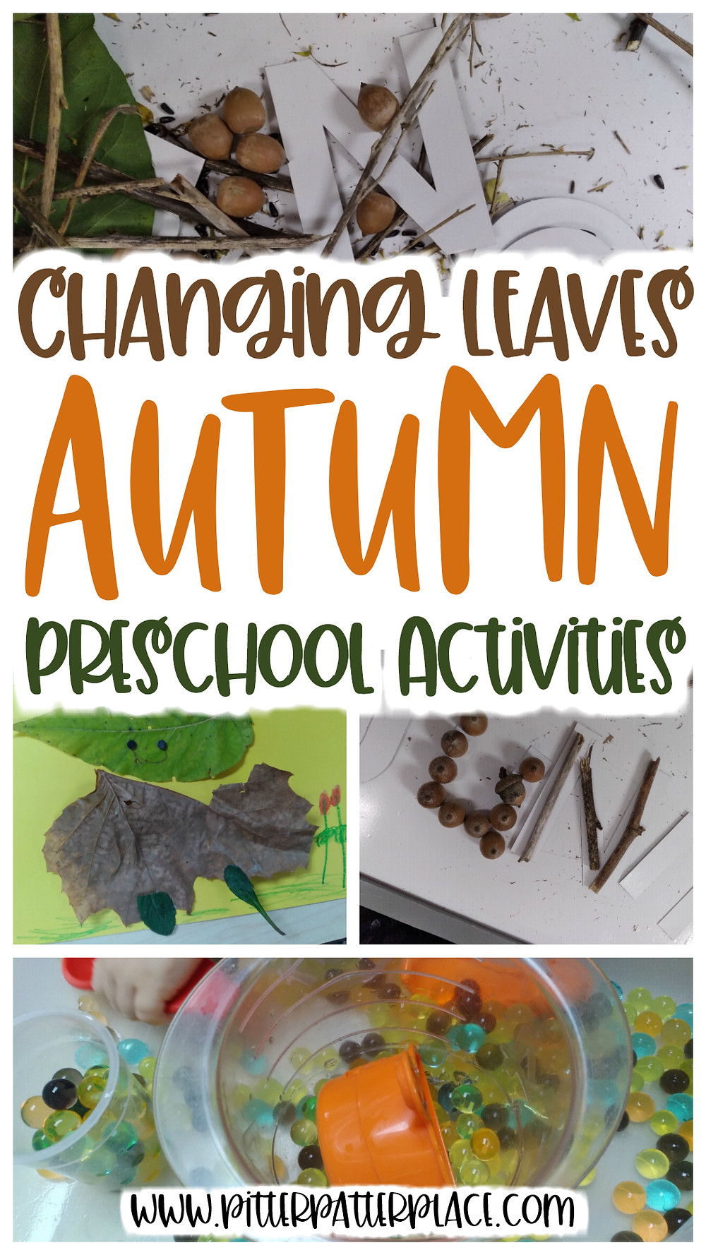 collage of leaf activities with text: Changing Leaves Autumn Preschool Activities