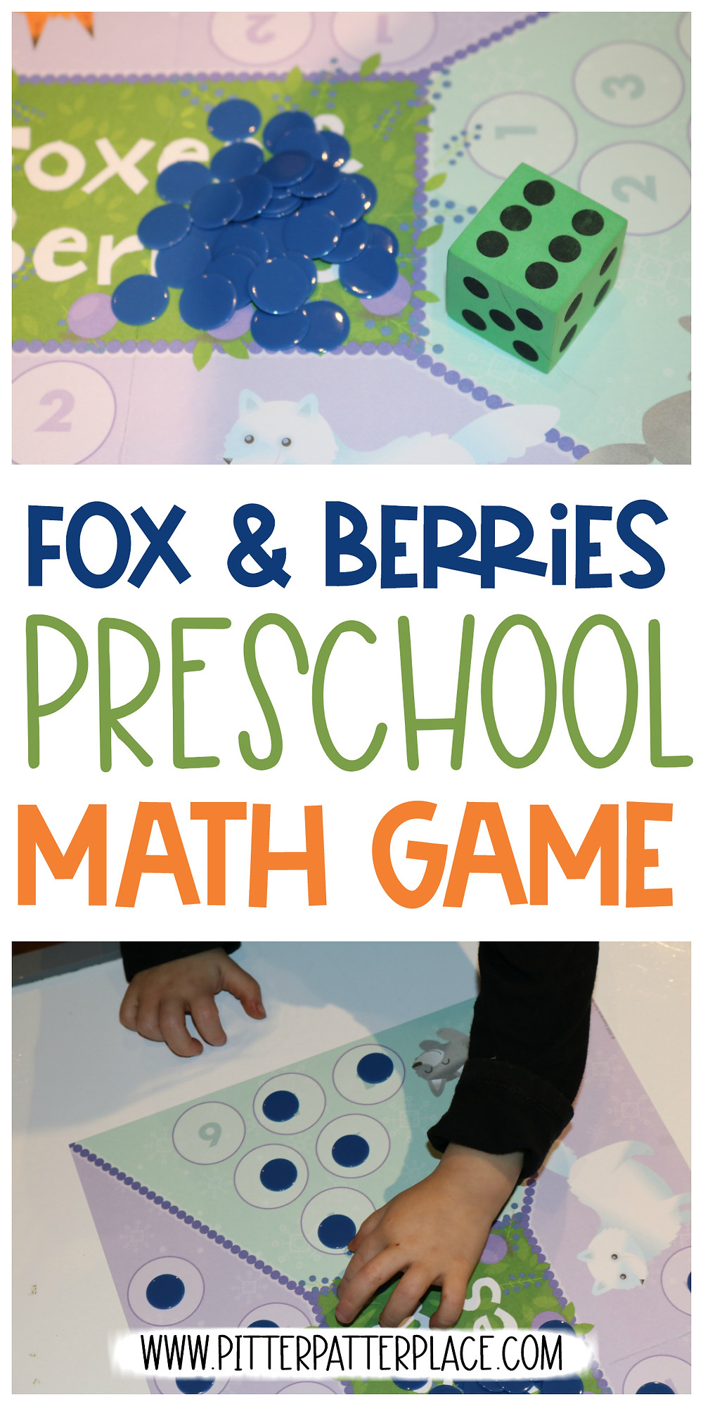 collage of preschool math game images with text: Fox & Berries Preschool Math Game