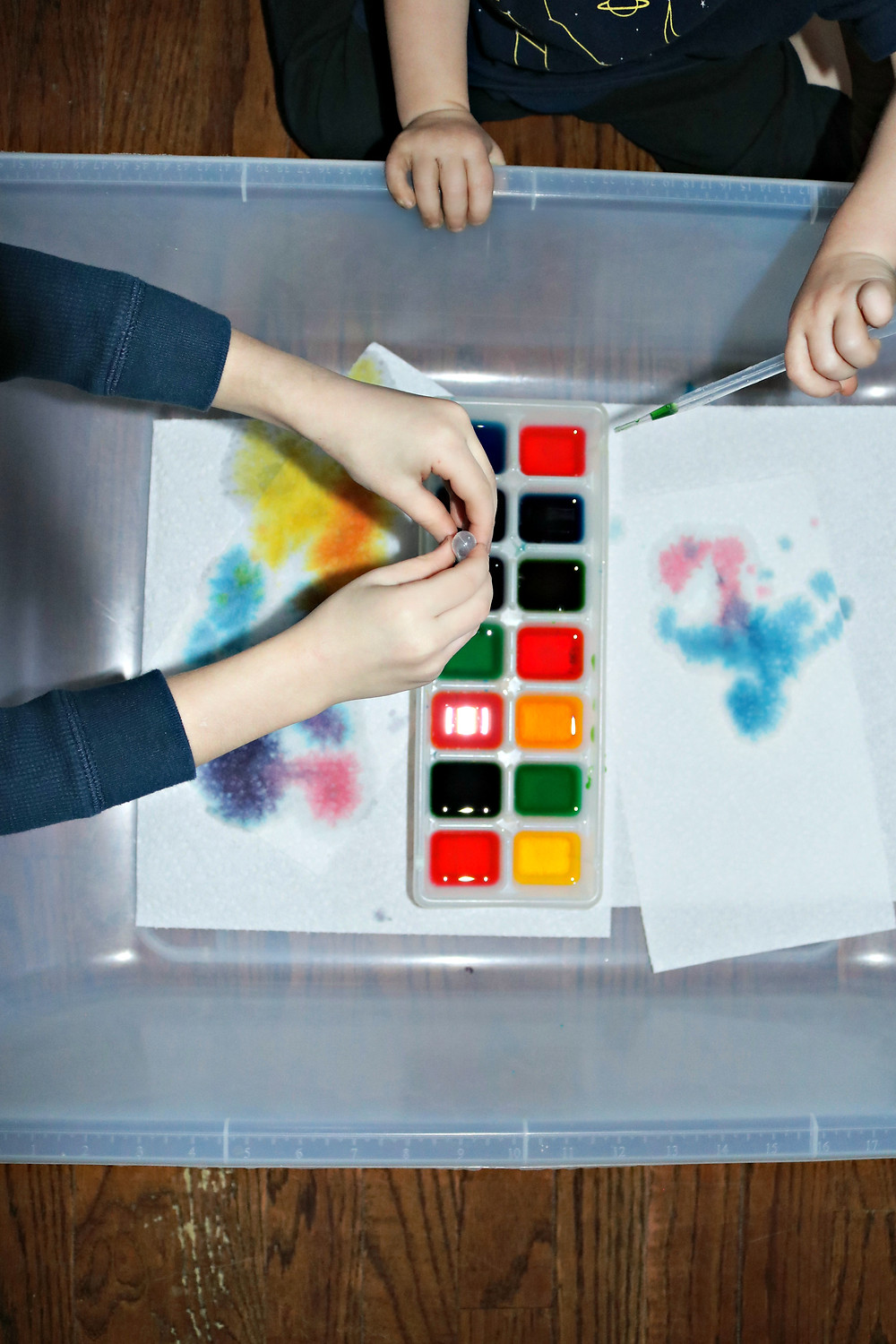 toddler and preschool using colored water and eyedroppers to make art
