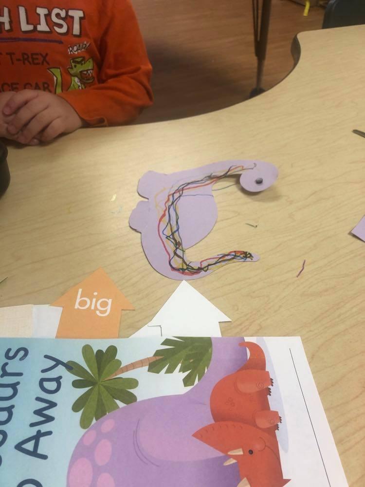 preschooler's Brontosaurus Puppet craft