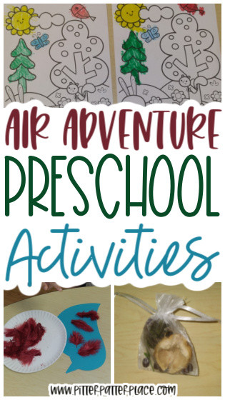 collage of air preschool activities with text: Air Adventure Preschool Activities