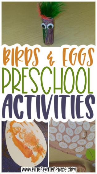 collage of preschool bird activities with text: Birds & Eggs Preschool Activities