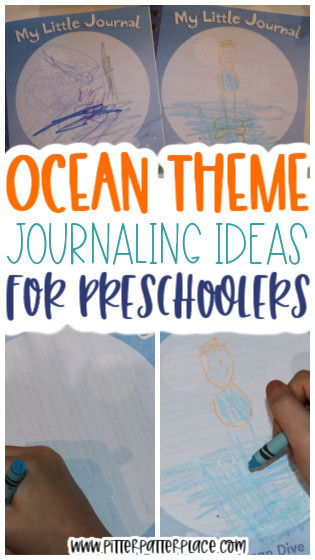 collage of journal images with text: Ocean Theme Journaling Ideas for Preschoolers