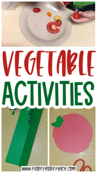 collage of vegetable activity images with text: Vegetable Activities
