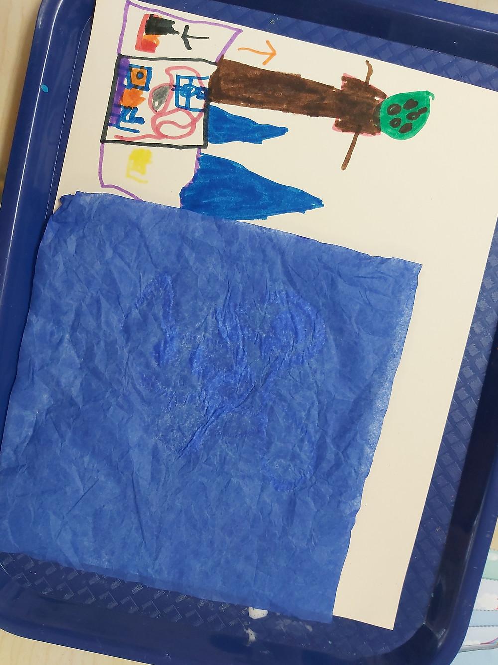 preschooler's river collage artwork