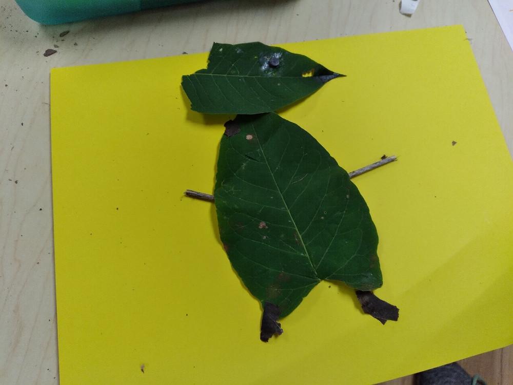 preschooler's leaf creature