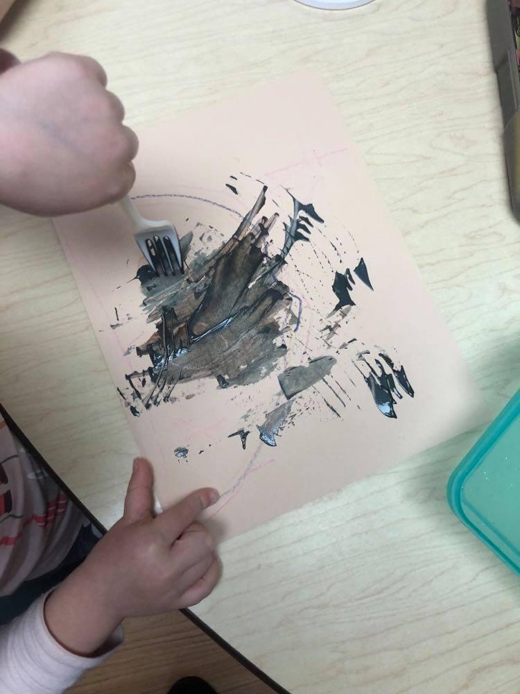 preschooler's fork painted ostrich
