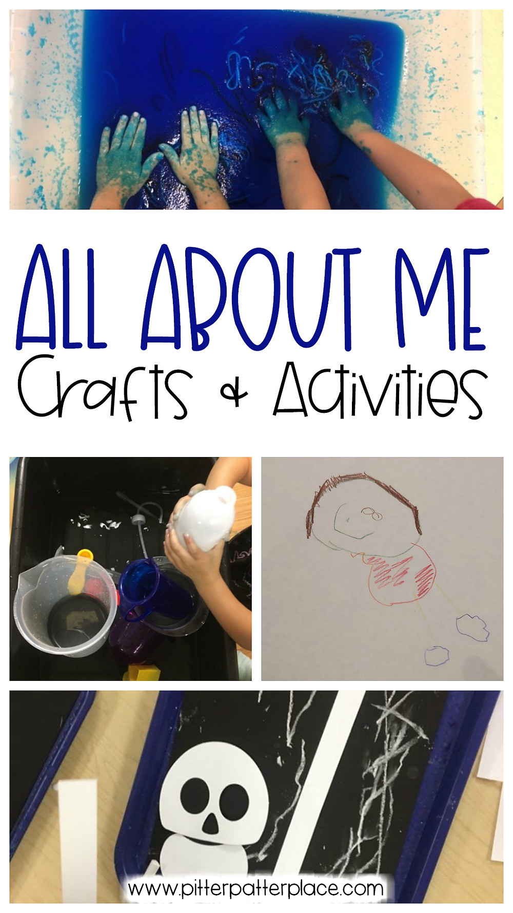 collage of preschool activities with text: All About Me Crafts & Activities