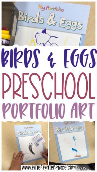 portfolio artwork images with text: Birds & Eggs Preschool Portfolio Art
