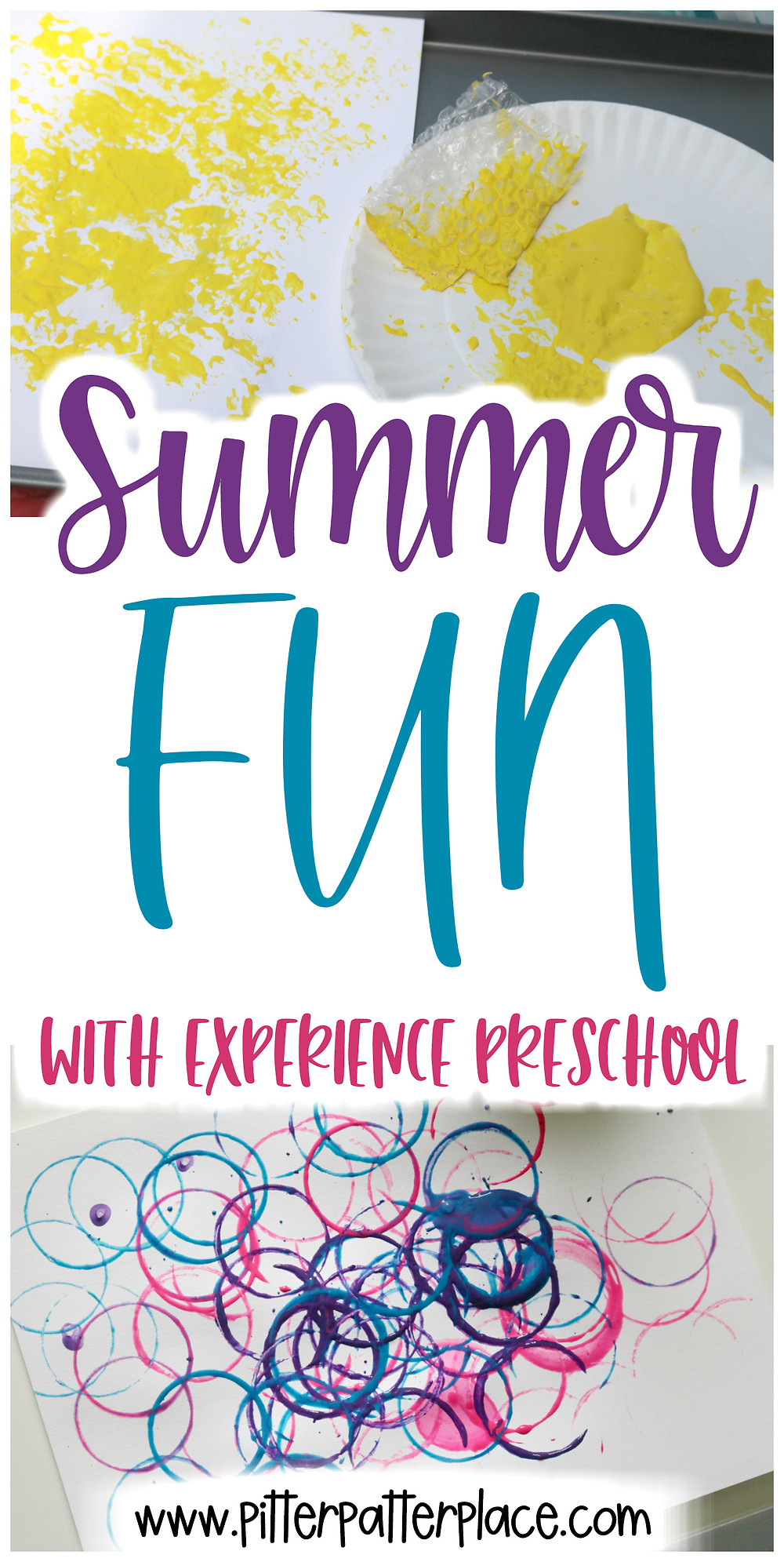 bug activities collage with text overlay: Summer Fun with Experience Preschool