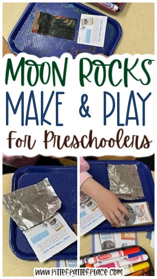 collage of moon rocks preschool activity images with text: Moon Rocks Make & Play for Preschoolers