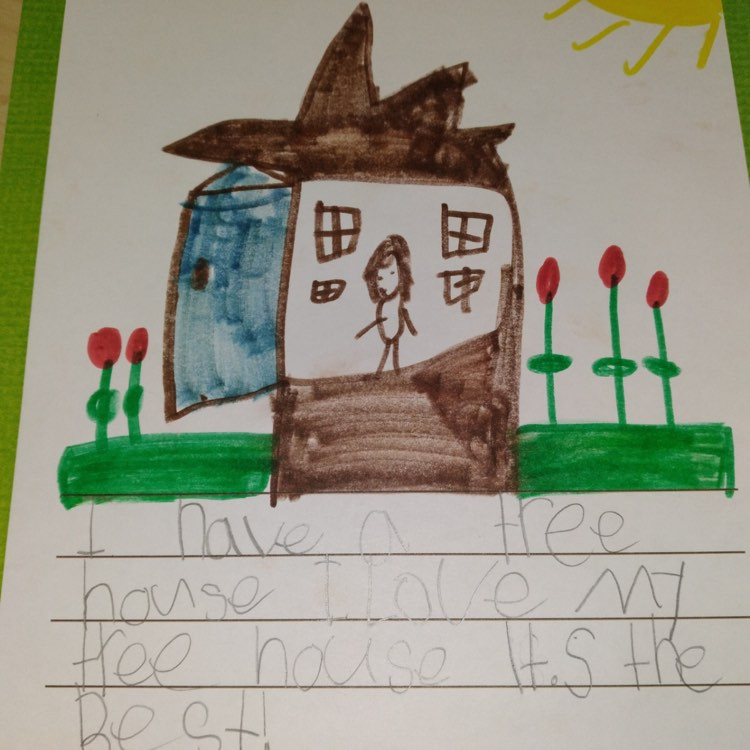 """child's illustrated tree story: """"I have a tree house. I love my tree house. It's the best."""""""