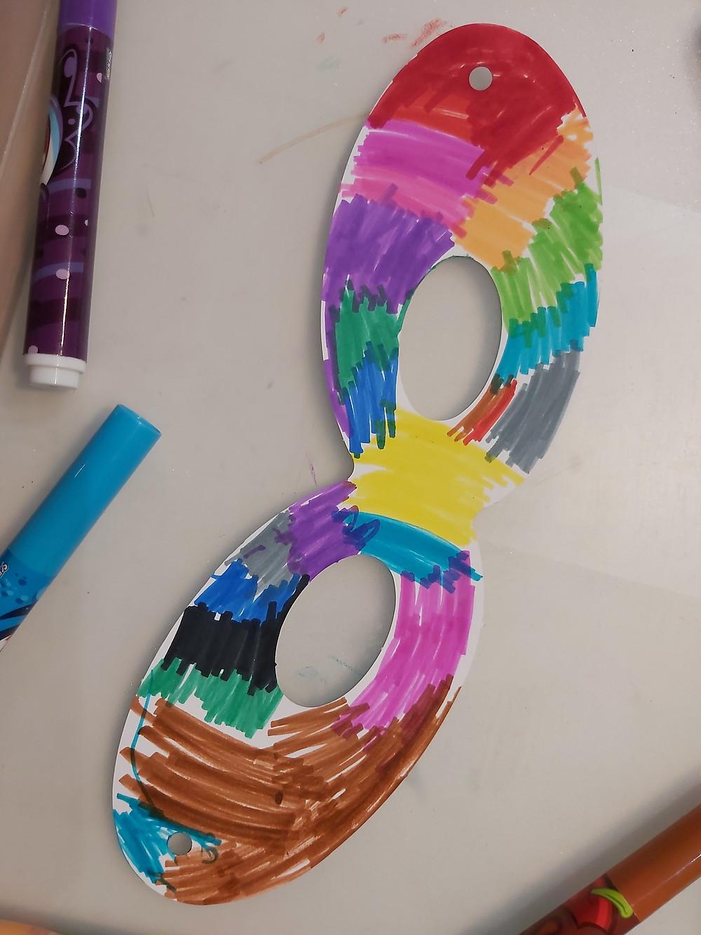 preschooler's finished superhero mask
