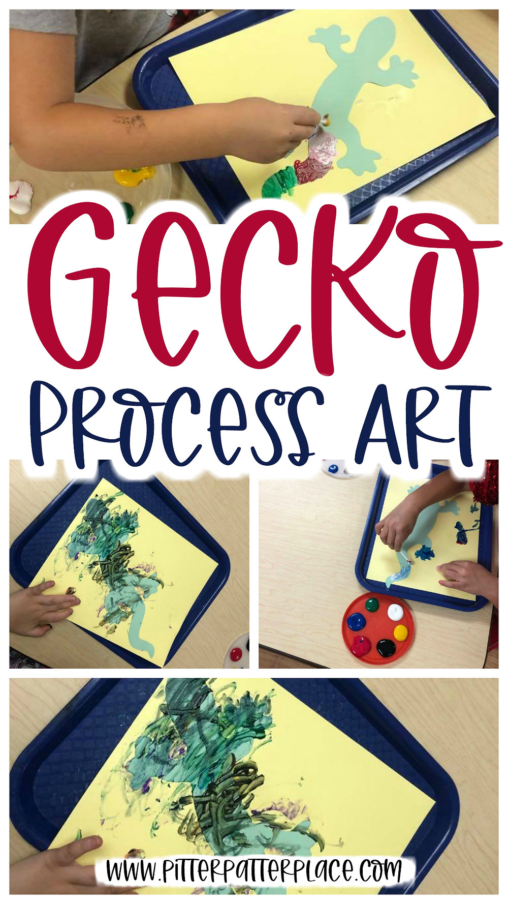 collage of dot art images with text: Gecko Process Art