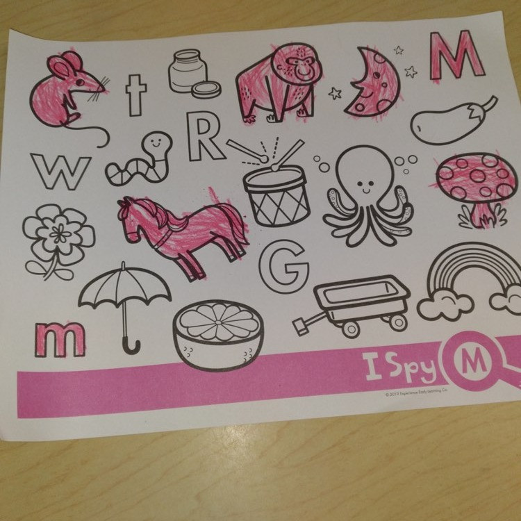 child's finished letter M coloring page
