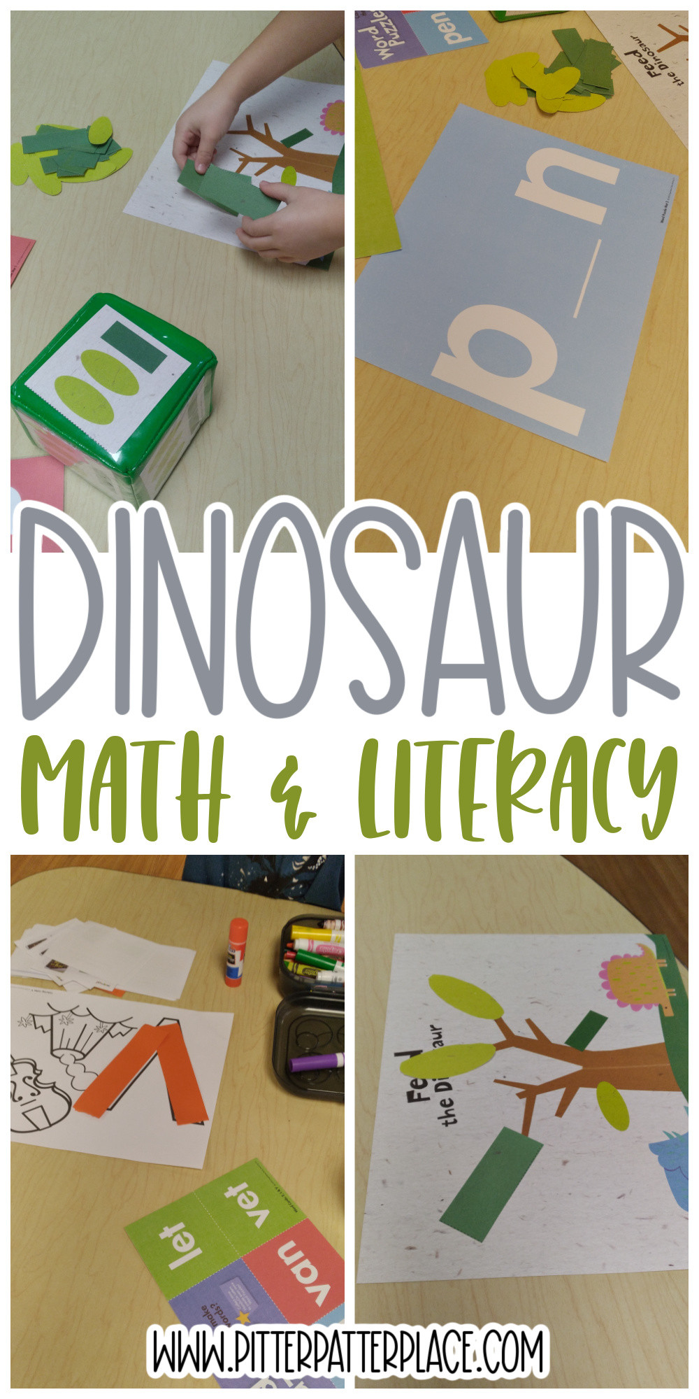 collage of dinosaur activities with text: Dinosaur Math & Literacy