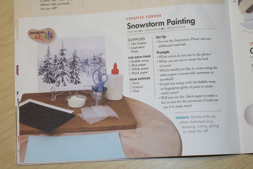 snowstorm painting activity from Teacher Guide