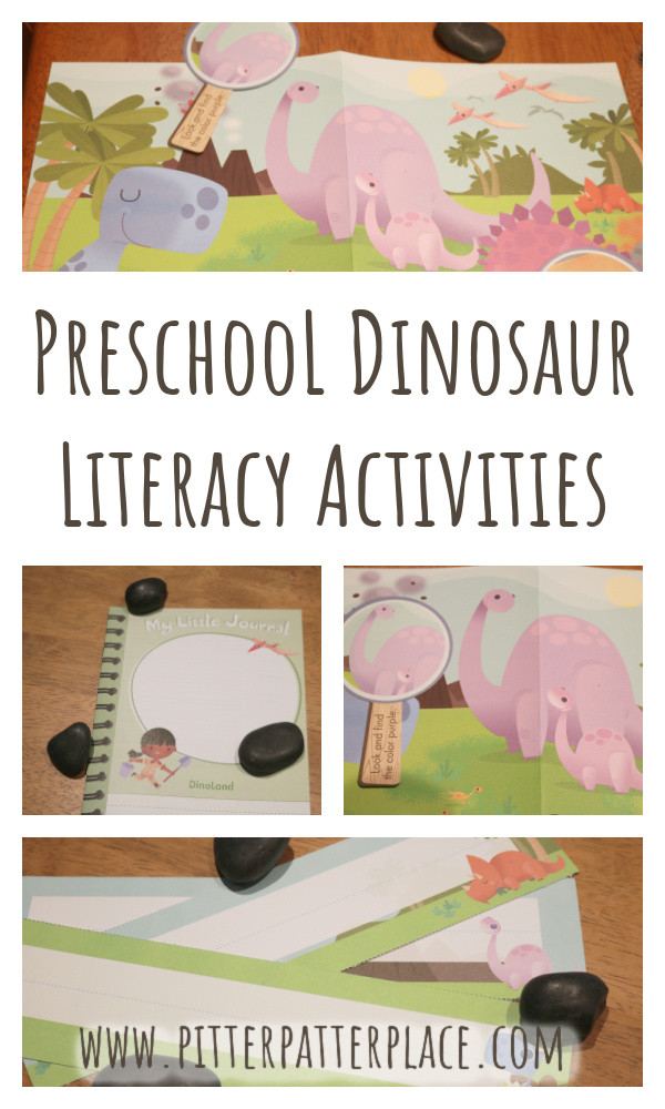 collage of dinosaur literacy activities with text: Preschool Dinosaur Literacy Activities