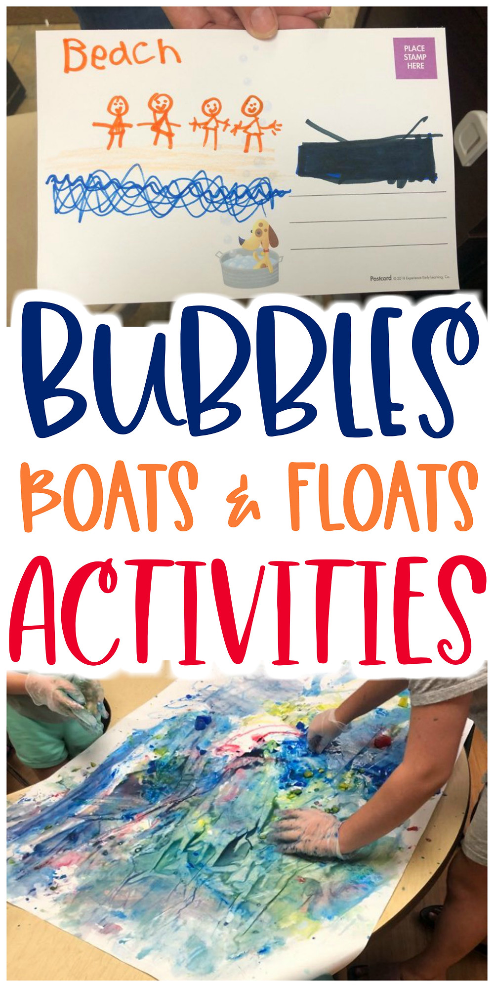 collage of preschool water activities with text: Bubbles, Boats & Floats Activities