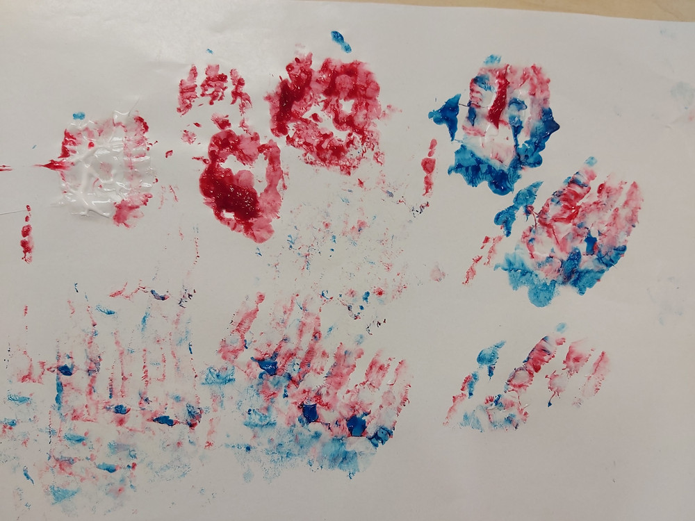 finger paint artwork created by preschooler