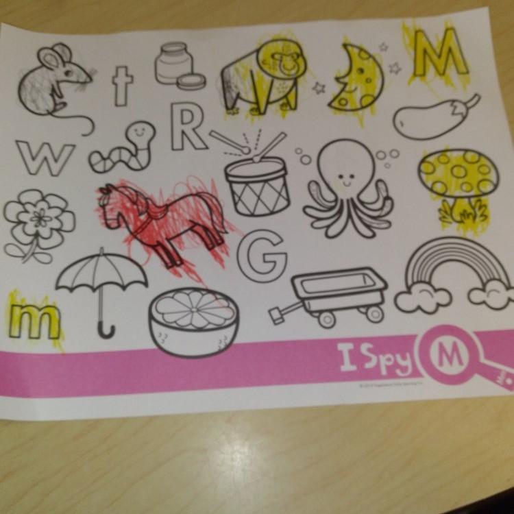 preschooler's finished letter M coloring page