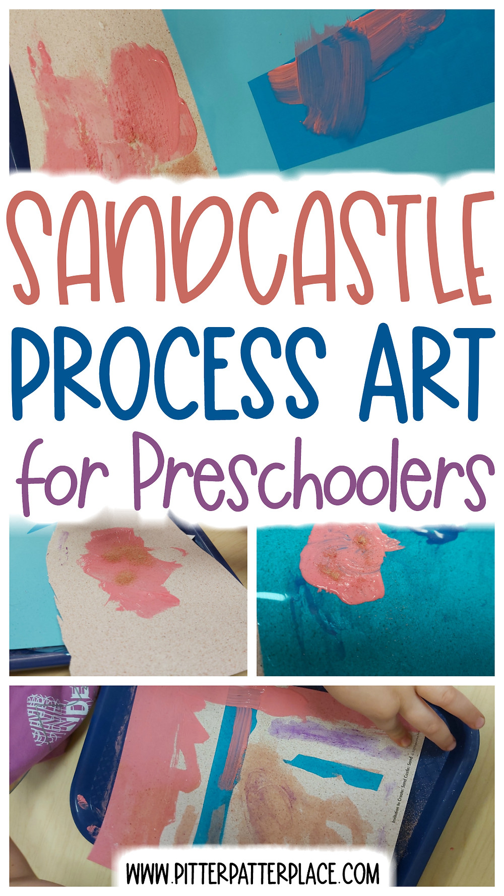 process art collage with text: Sandcastle Process Art for Preschoolers