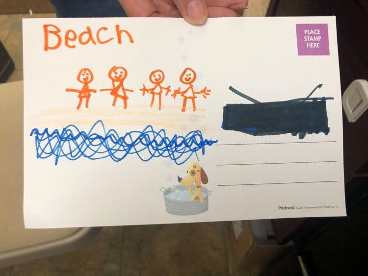 child's postcard artwork