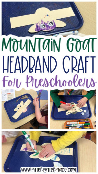 mountain goat headband craft images with text: Mountain Goat Headband Craft for Preschoolers