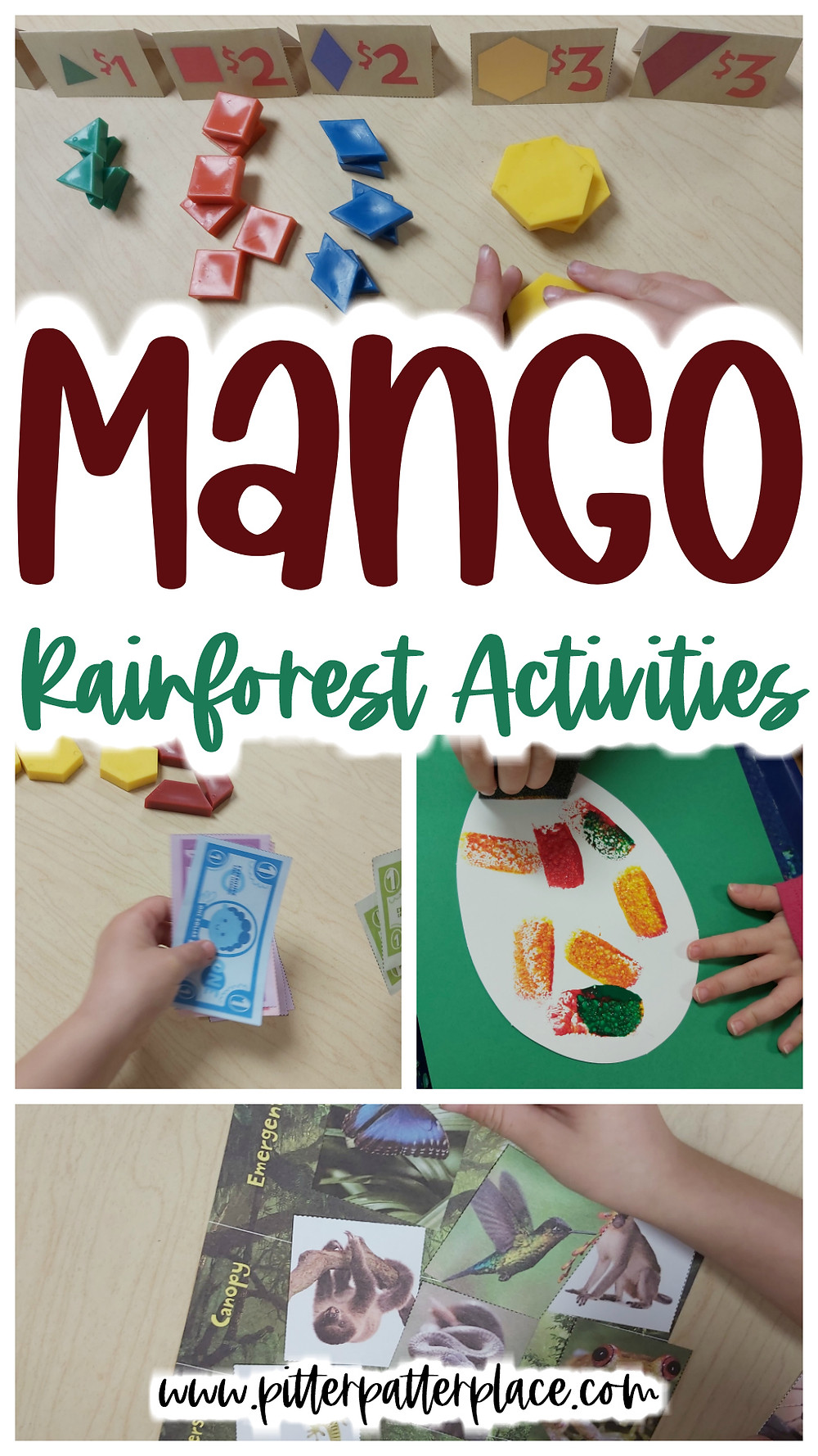 collage of rainforest activities with text: Mango Rainforest Activities