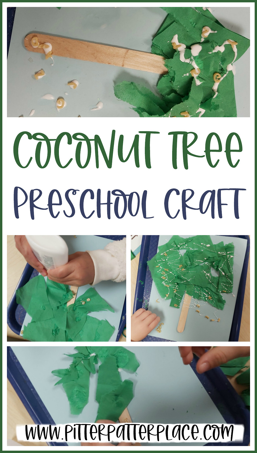 collage of coconut tree crafts with text: Coconut Tree Preschool Craft