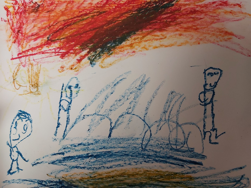 oil pastel sunset art created by a preschooler