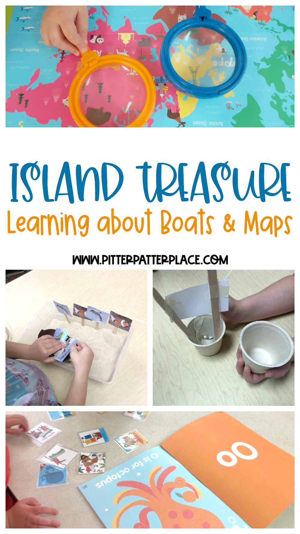 collage of activity images with text: Island Treasure Learning About Boats & Maps