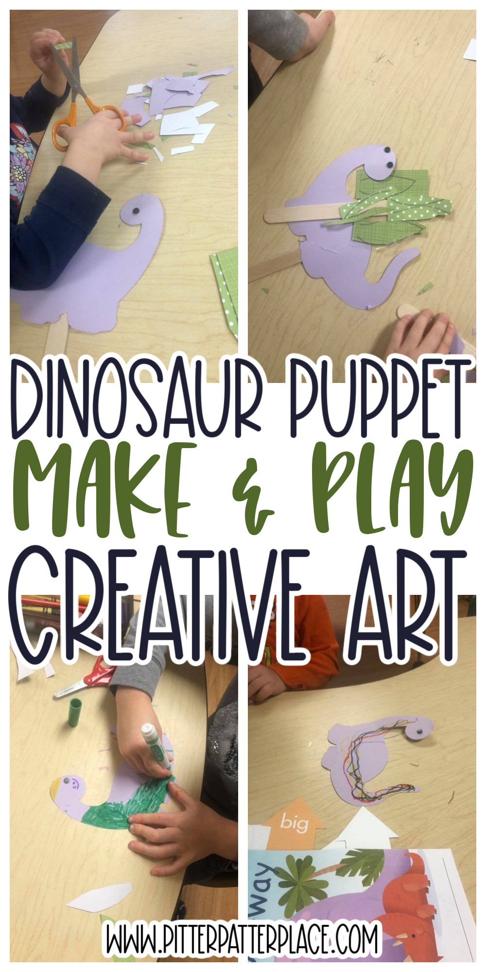 collage of dinosaur puppet images with text: Dinosaur Puppet Make & Play Creative Art