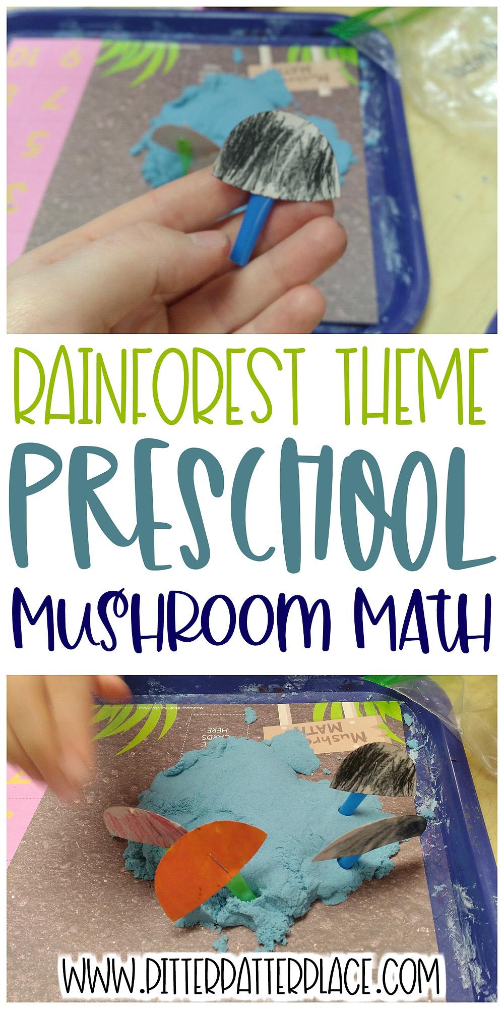 collage of Mushroom Math images with text: Rainforest Theme Preschool Mushroom Math
