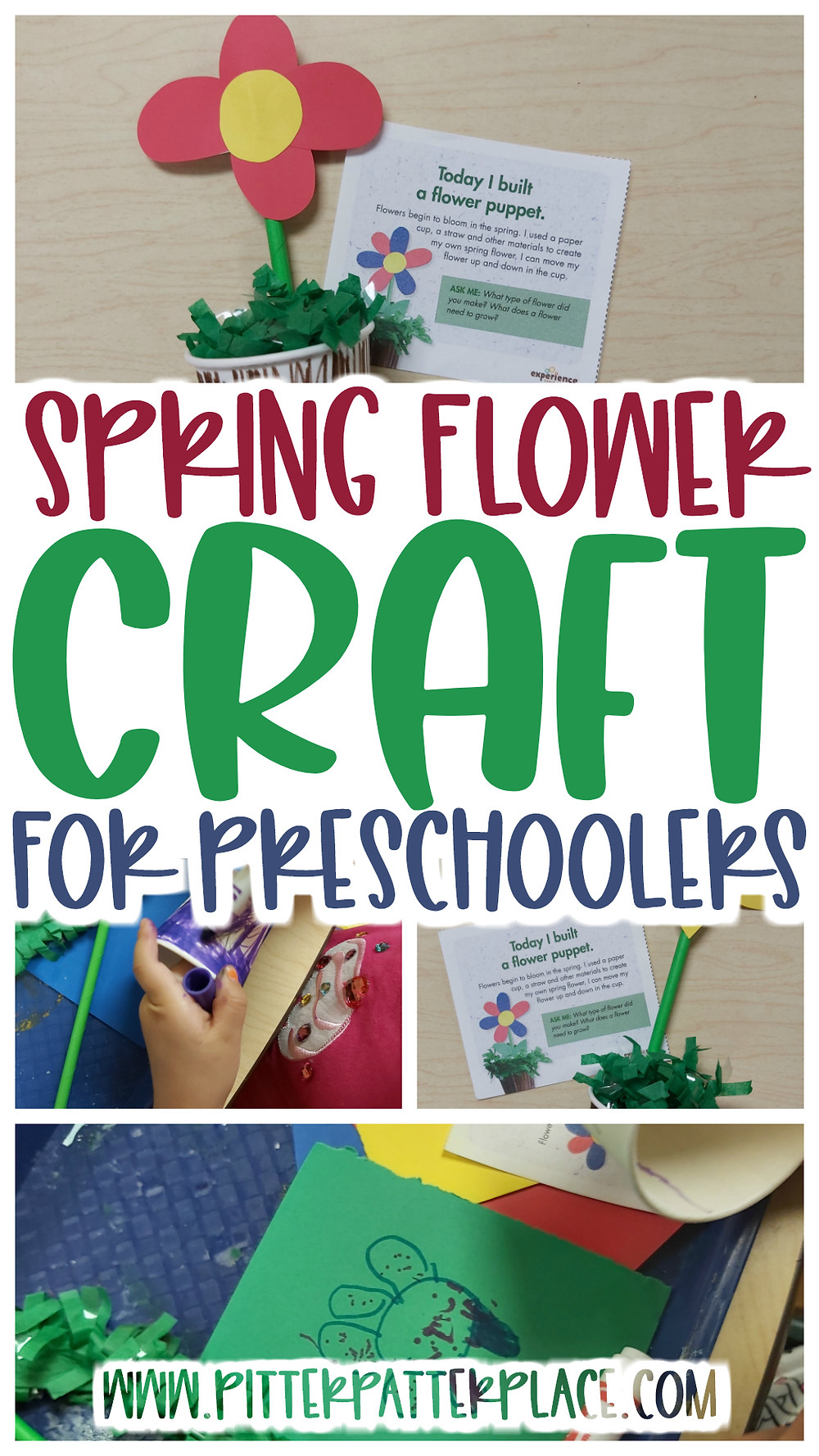 collage of flower crafts with text: Spring Flower Craft for Preschoolers