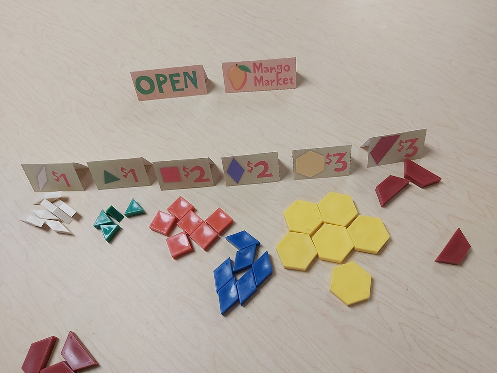 mango market game with manipulatives and open sign