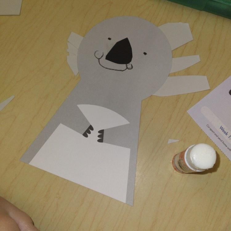 preschooler's koala puppet paper craft