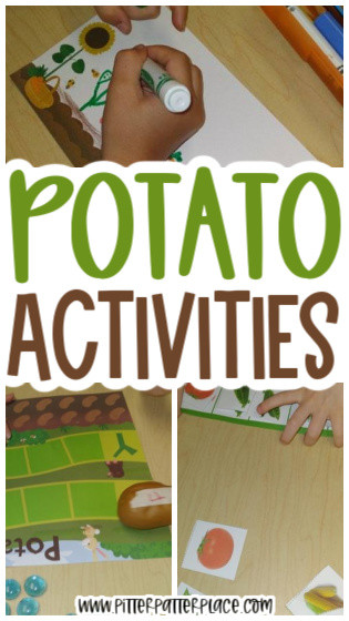 collage of potato activity images with text: Potato Activities