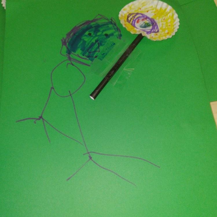 preschooler's hummingbird process art