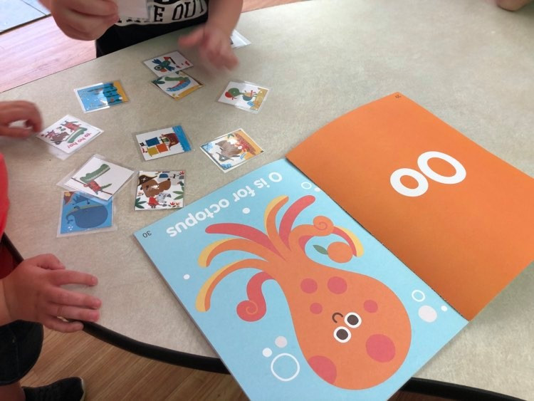 preschoolers matching picture cards