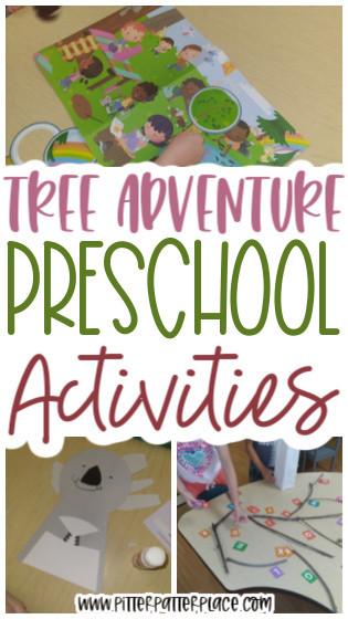 collage of preschool tree activities with text: Tree Adventure Preschool Activities