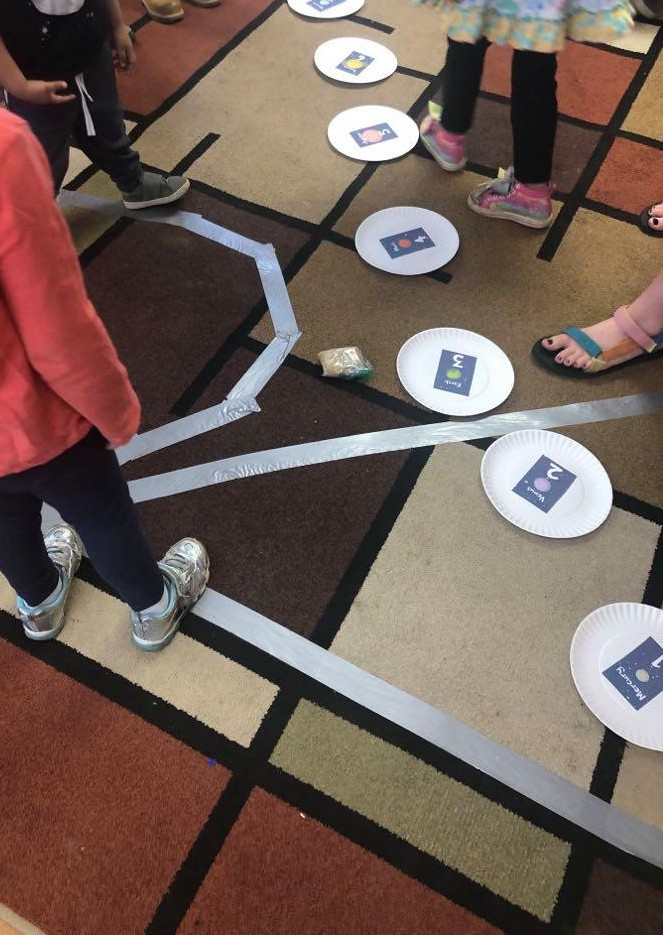 preschoolers putting paper plate planets in order on the floor